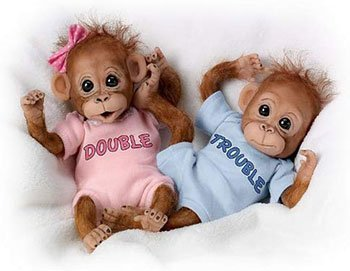 Reborn Animal Dolls Cute Double Trouble Monkey Dolls
