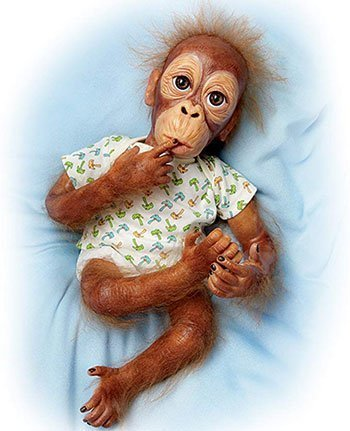 Reborn Animal Dolls Lifelike Baby Orangutan Doll